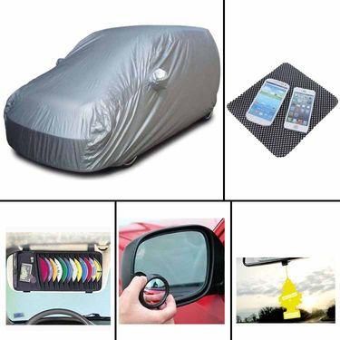 COMBO of Car Body Cover HatchBack, DVD Holder, Freshner, Blind Spot Mirror and Non-Slip Dash Mat