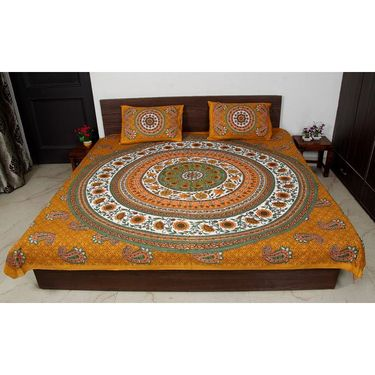 Jaipuri Printed Double Bedsheet With 2 Pillow Covers-BDEVB08M