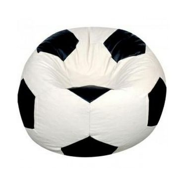Storyathome White and Black Football bean Bag Chair Cover- XXL