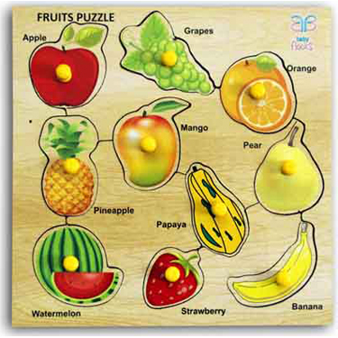 Baby Flocks Fruitful Fruity Puzzle Educational Wooden Toy - Multicolor