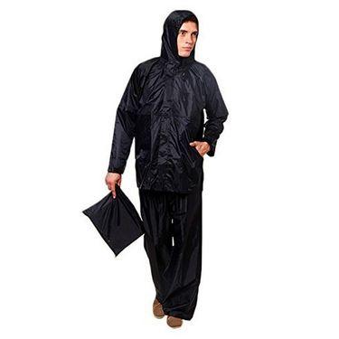 AutoStark Bike-Scooter Water Proof Rain Suit with Hood-Black-42 Size
