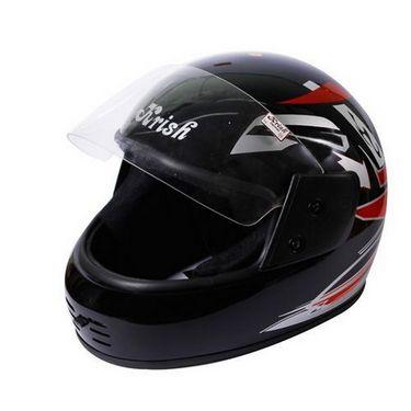 Branded Standard Krish Black Full Face Helmet Red Graphics