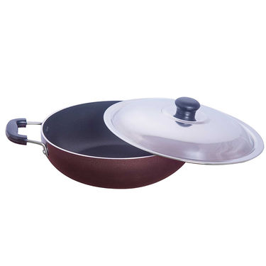 Brilliant Nonstick Kadhai Copper Hammertone - 210mm with SS Lid