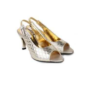 Do Bhai Faux Leather Heels Burfi-Sandal-Golden