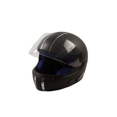 Autofurnish (CC-406) Crab Chrome Strip Full Face Helmet (Matt Black)-CC-406