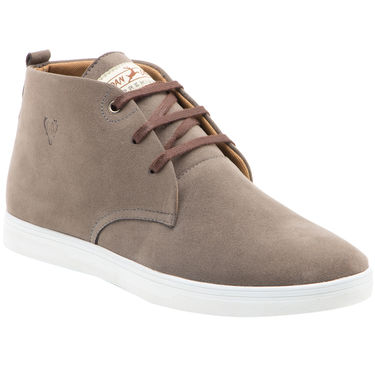 Randier Synthetic Leather Grey Casual Shoes -Cfl001