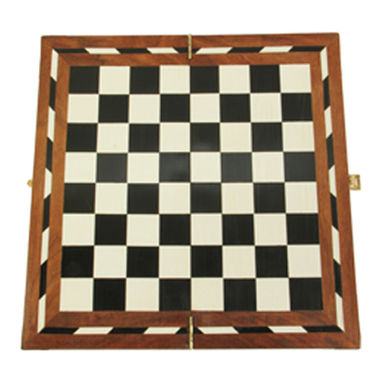AVM 16inch Acrylic Folding Chess Board (1.25 inch Border, White Black Brown)