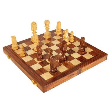 AVM 4inch Sheikh Chessmen 4 inch Chess Board Brown Yellow)