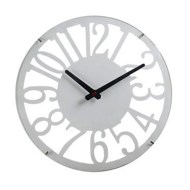 White Cut Design Round Numeral Wall Clock