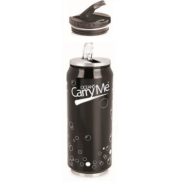 CarryMe Sippie Hot & Cold Thermo Can With Sipper & Extra Lid 500 Ml - Black
