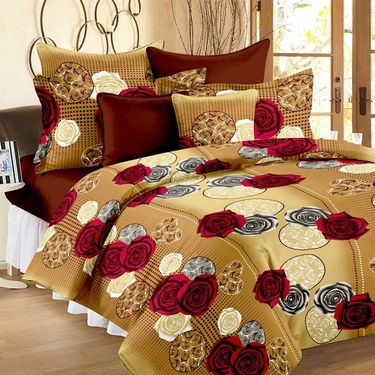 Set of 5 100% Cotton Double Bedsheet With 10 Pillow Cover