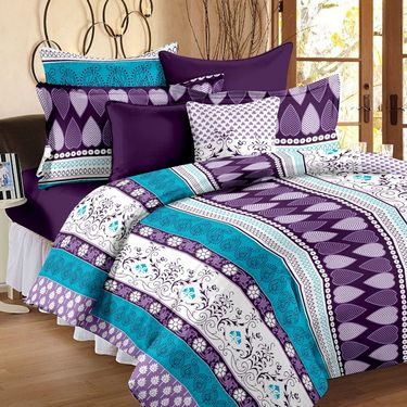 Set of 2 Double Bedsheet with 4 Pillow Cover-1222-1231