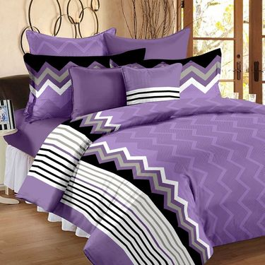 Set of 4 100% Cotton Double Bedsheet With 8 Pillow Cover-1222_53