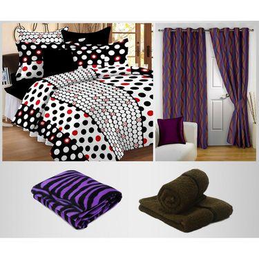 Combo of 100% Cotton Double Bedsheet, Blanket, Curtain Set & Hand Towel Set-CN_1227