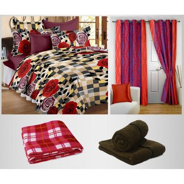 Combo of 100% Cotton Double Bedsheet, Blanket, Curtain Set & Hand Towel Set-CN_1261