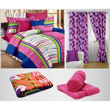 Storyathome 100% Cotton 1 Double Bedsheet Set,2 Pc Door Curtain,1 Pc Blanket & 2 Pc Hand Towel Combo-DNR2003