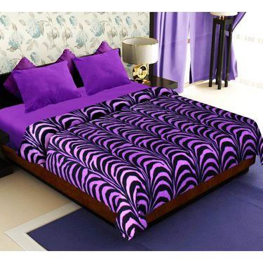 Combo of 100% Cotton Double Bedsheet, Blanket, Curtain Set & Door Mat-CN_1406