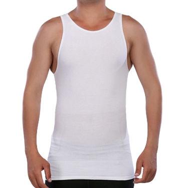 Pack of 3 Blended Cotton Vests For Men_Combo 2 - Grey & White