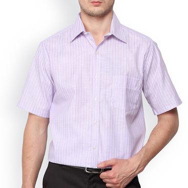 Copperline Stripes Half Sleeves Cotton Shirt For Men_cpl1031 - Purple
