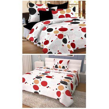 Storyathome 100% Cotton Double Bedsheet & 1 Single Bedsheet With 3 Pillow Cover -CR_1409-HY1410