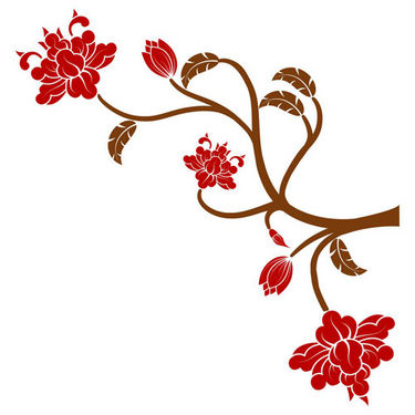 Chipakk Flowering Branch Wall Decal - Red- NA12AM