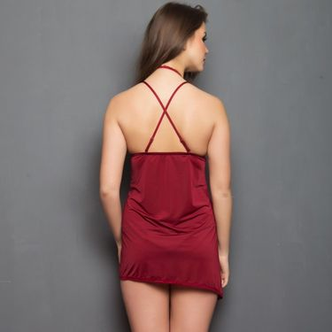 Clovia Satin Plain Nightwear - Maroon - NSC221P09