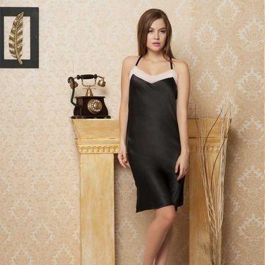 Clovia Satin Plain Nightwear - Black - NSC295P13