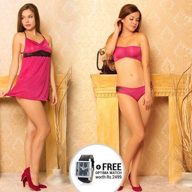 Clovia Cotton Rich Plain Nightwear - Pink - NSC315C14