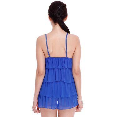 Clovia Nylon Lace Plain Nightwear - Black - NSM071O21