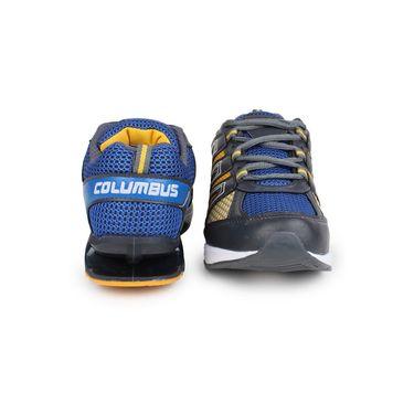 Columbus Grey & Yellow Sports Shoe C02