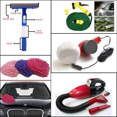 Combo of Car Polish Machine & Vaccum Cleaner + Water Spray gun + Glass Cleaning Wiper + Microfiber Glove