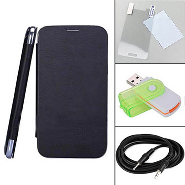 Combo of Camphor Flip Cover (Black) + Screen Protector for Xolo A500s + Aux Cable + Multi Card Reader