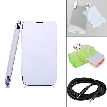 Combo of Camphor Flip Cover (White) + Screen Protector for Micromax A210 + Aux Cable + Multi Card Reader