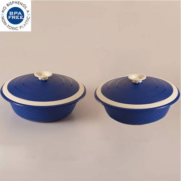 Set of 2 Cutting Edge Carnation Double Walled Casseroles - Blue