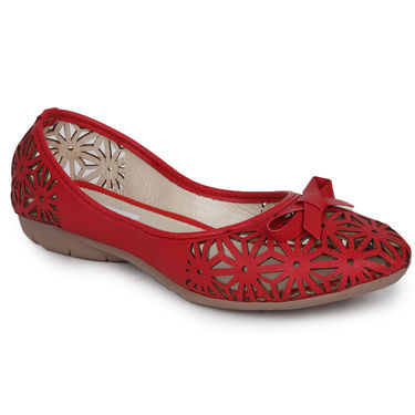 Do Bhai Faux Leather Ballerinas Cutwork-Belly-Red