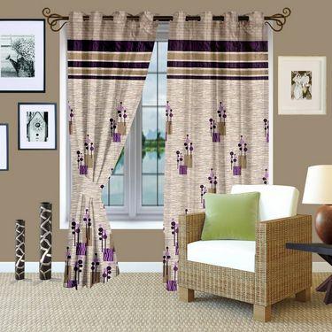 Story @ Home Brown Jacquard 1 pc Door curtain-7 feet-DBR4014