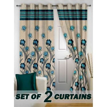 Set of 2 Printed Door curtain-7 feet-DBR_2_4026