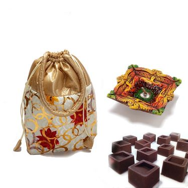 Floral print Leatherite Chocolate pouch_DCHO14