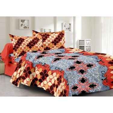 Valtellina 100% Cotton Double Bedsheet with 2 Pillow Cover-6005-A