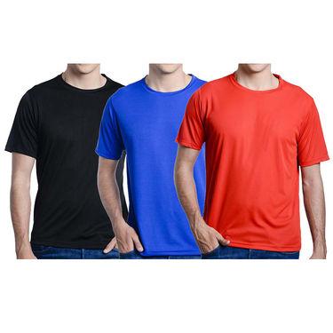 Pack of 3 Oh Fish Plain Round Neck Tshirts_Df3blkredblu
