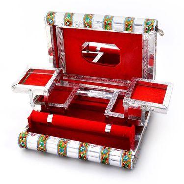 Little India Colorful Mayur Meenakari Work Red Jewellery Box 370