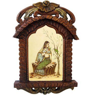 Little India Beautiful Lady Feeding Parrot Wooden Jharokha Gift 439