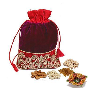 Purple & Red Velvet Dry fruit Pouch and Diwali Hamper_DMB22