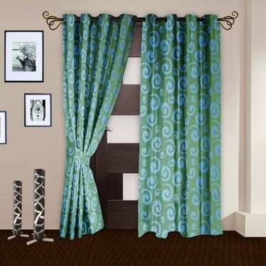 Story @ Home Aqua 2 pc Door curtain-7 feet-DNR3020
