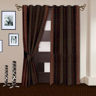 Story @ Home Brown 2 pc Door curtain-7 feet-DNR3027