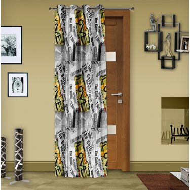 Story @ Home Grey 1 pc Digital Print Door curtain-7 feet-DRT1103