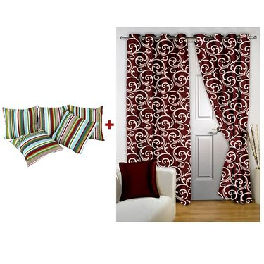 Storyathome Combo Of 2pc Door Curtains, 2 Pc Window Curtains And 5 Pc Cushion Covers-DTA_1402-WTA1402-CH1205