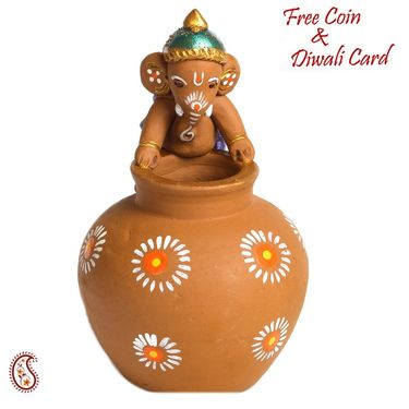 Aapno Rajasthan Multicolor Terracotta Ganesh sitting on Swan
