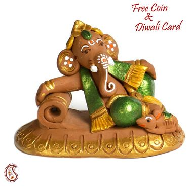 Aapno Rajasthan Multicolor Terracotta  Book Reading Ganesh Showpiece