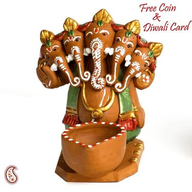 Aapno Rajasthan Multicolor Terracotta Ganesh in Long Boat Showpiece